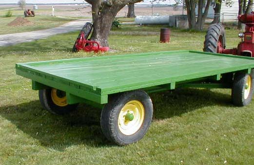 Green Painted Wood Deck Hay Rack Wagon For Sale